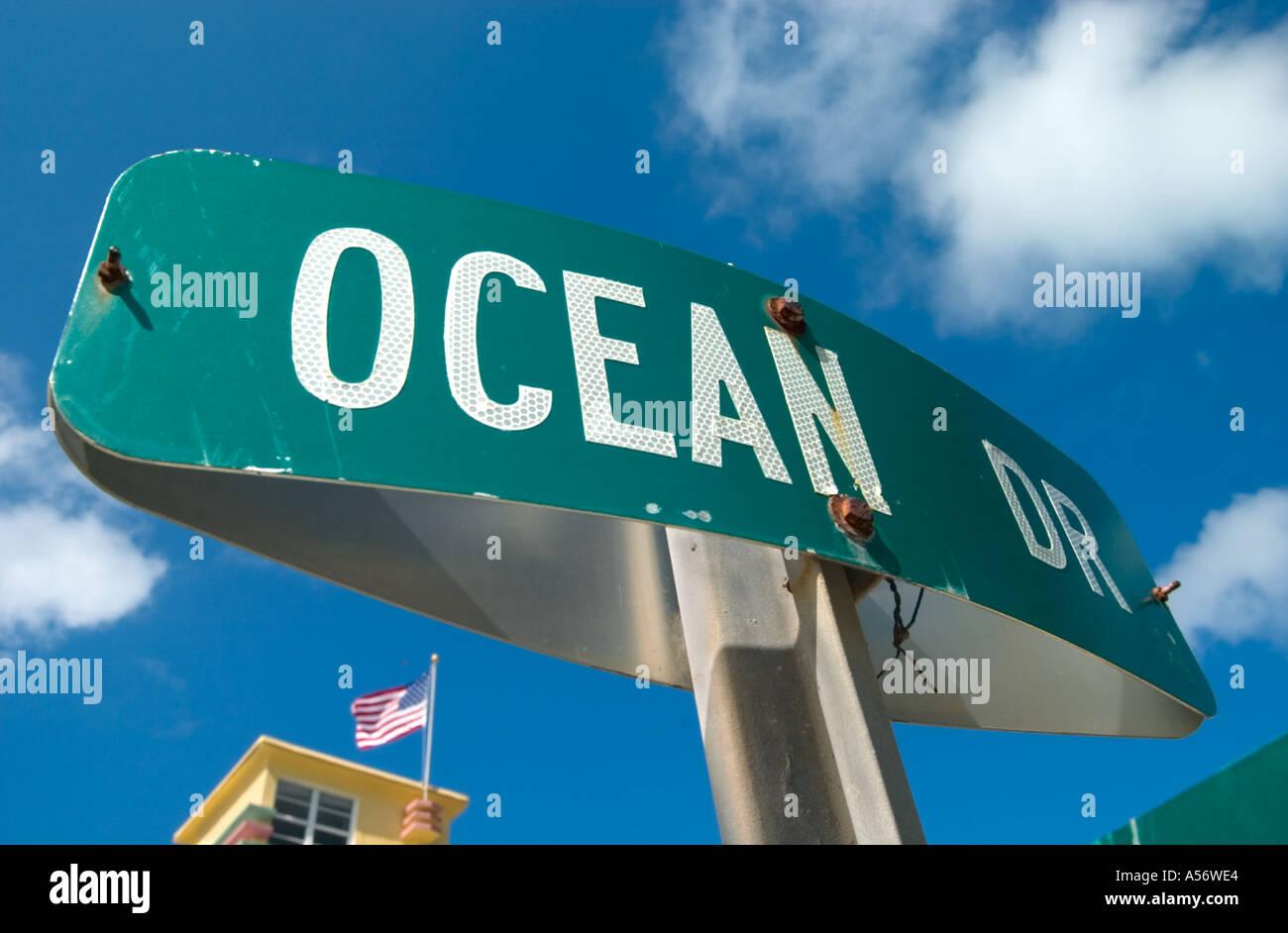 Ocean Drive street sign, South Beach, Miami, Florida, USA - Stock Image