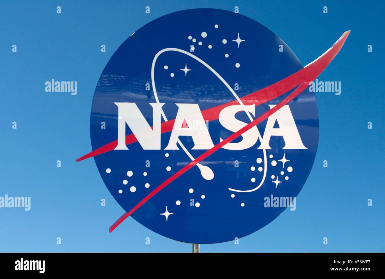 NASA Sign, Kennedy Space Center, Cape Canaveral, Florida, USA - Stock Image