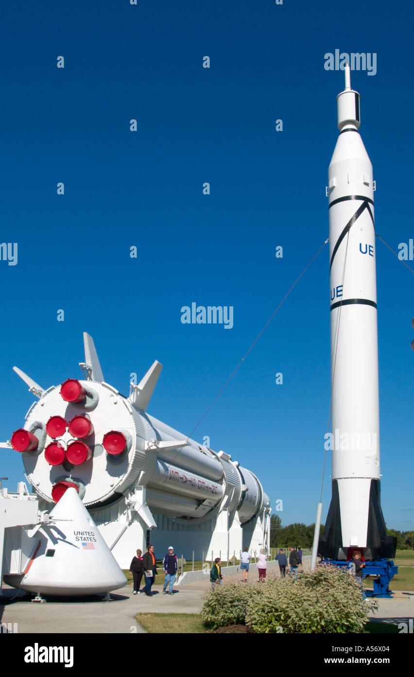 Rocket Garden, Kennedy Space Center, Cape Canaveral, Florida, USA - Stock Image