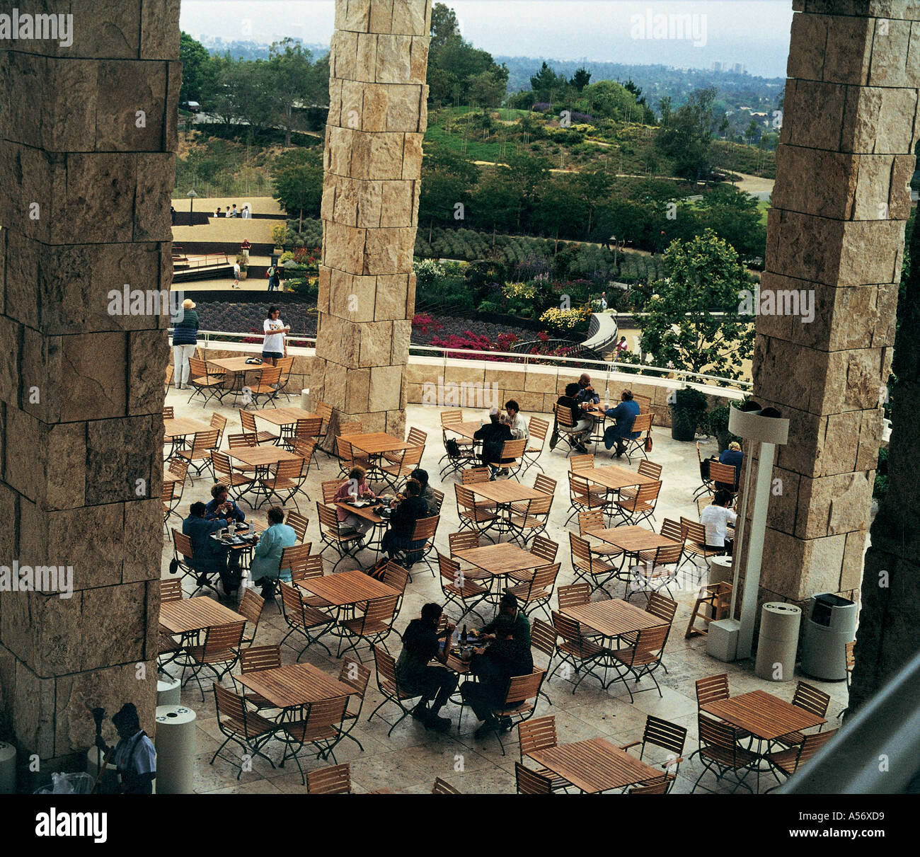 PCP189 People Enjoying At The Getty Centre Los Angeles USA 1999 - Stock Image
