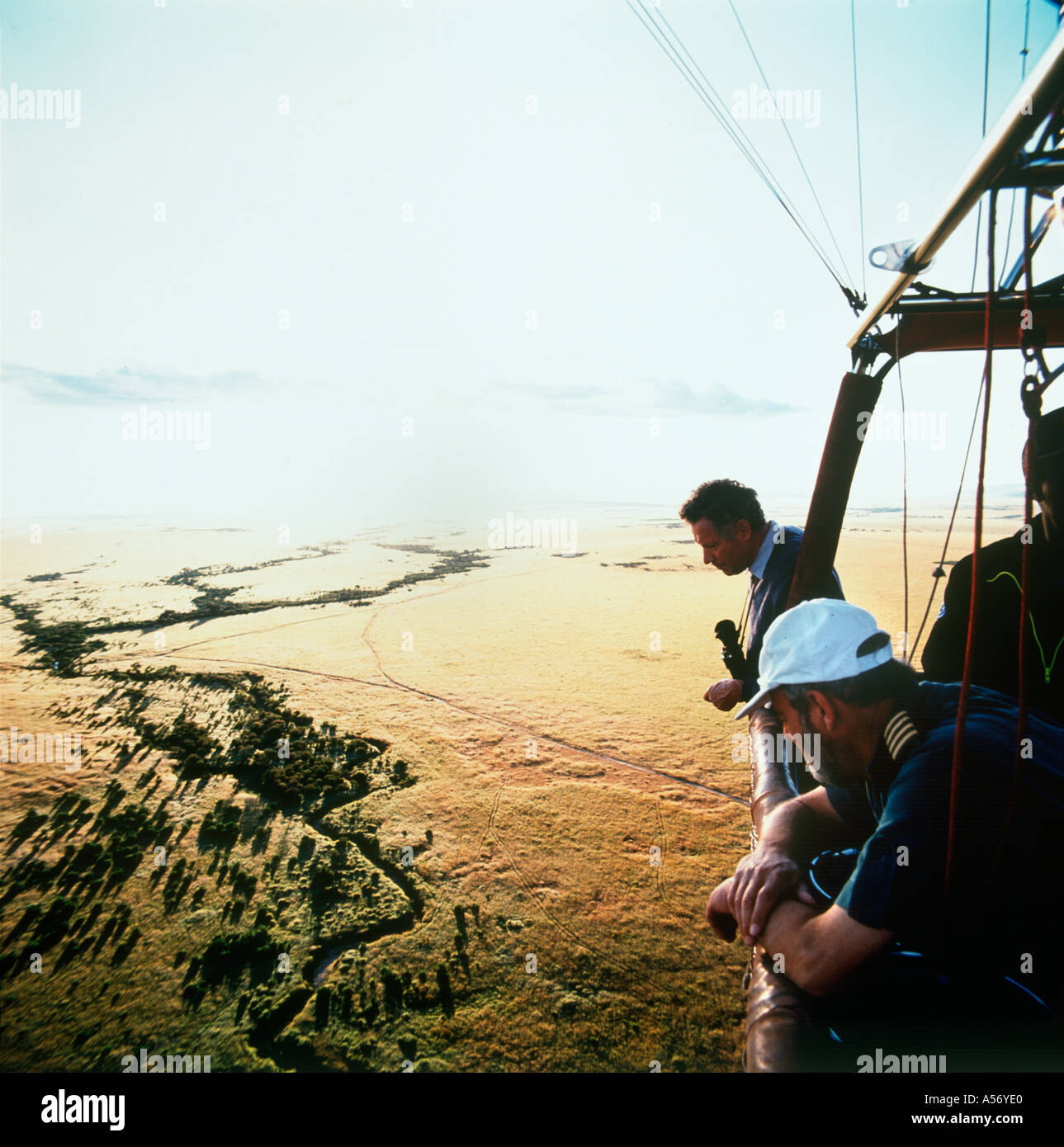 View from a hot air balloon at dawn, Masai Mara ( Maasai Mara ), Kenya - Stock Image
