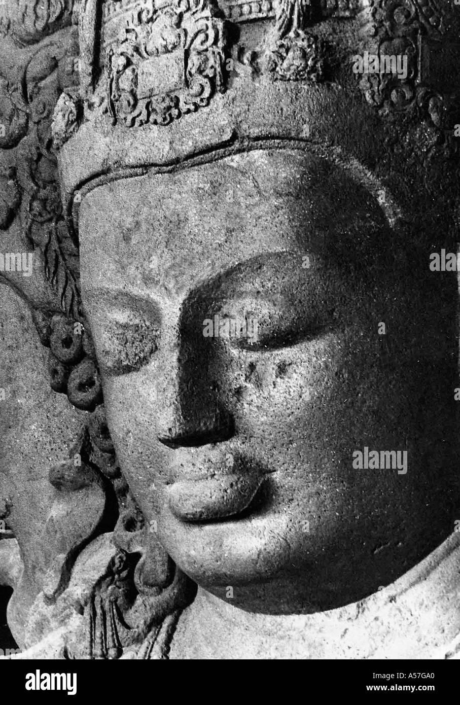 God Shiva Mahadeva Elephanta Caves Bombay Mumbai Maharashtra India 1977 - Stock Image