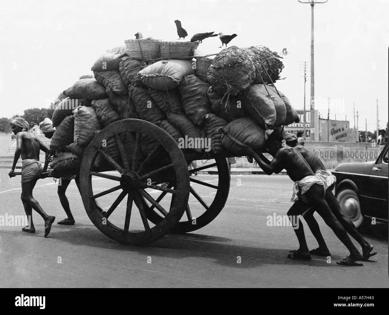Hand Cart puller Madras Chennai Tamil Nadu India 1956 - Stock Image