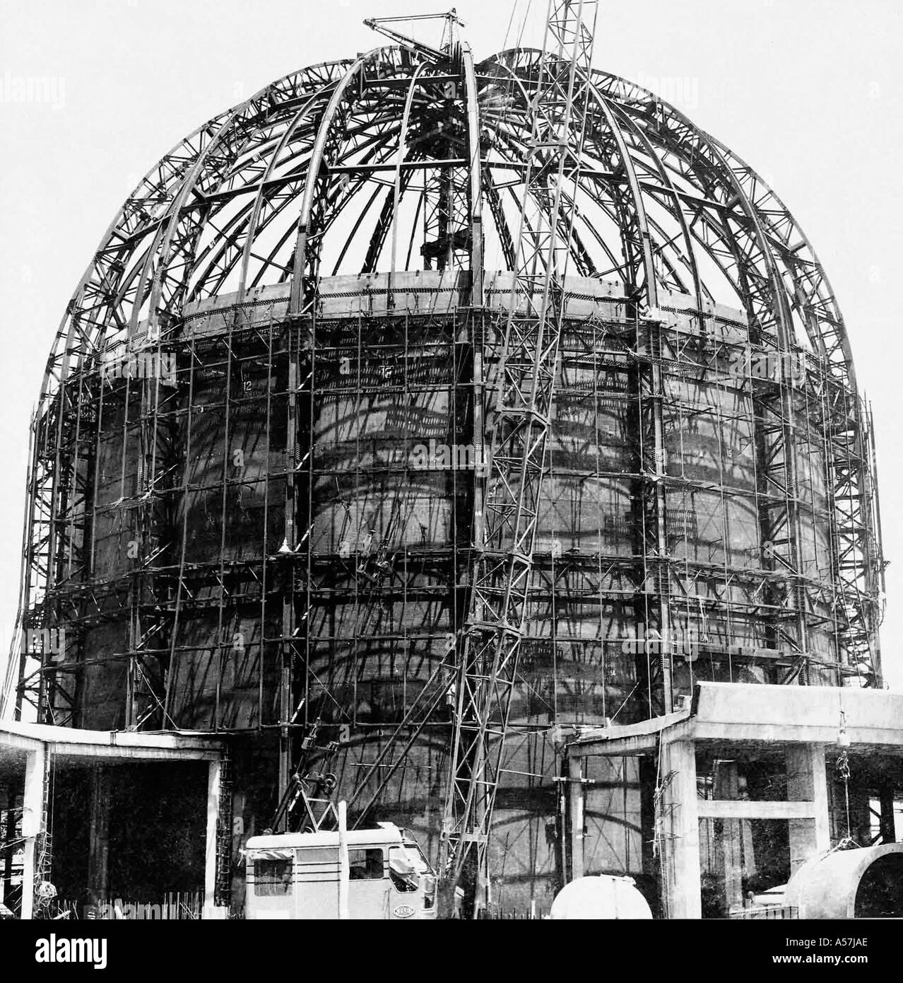 BARC Bhabha Atomic Research Centre Atomic Reactor at Trombay under construction steel girders strong inner core Stock Photo