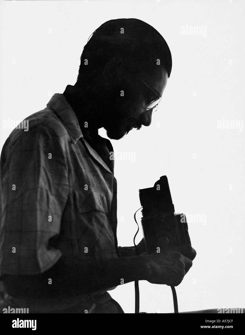 Praful Patel photographer with Rollei camera Stock Photo