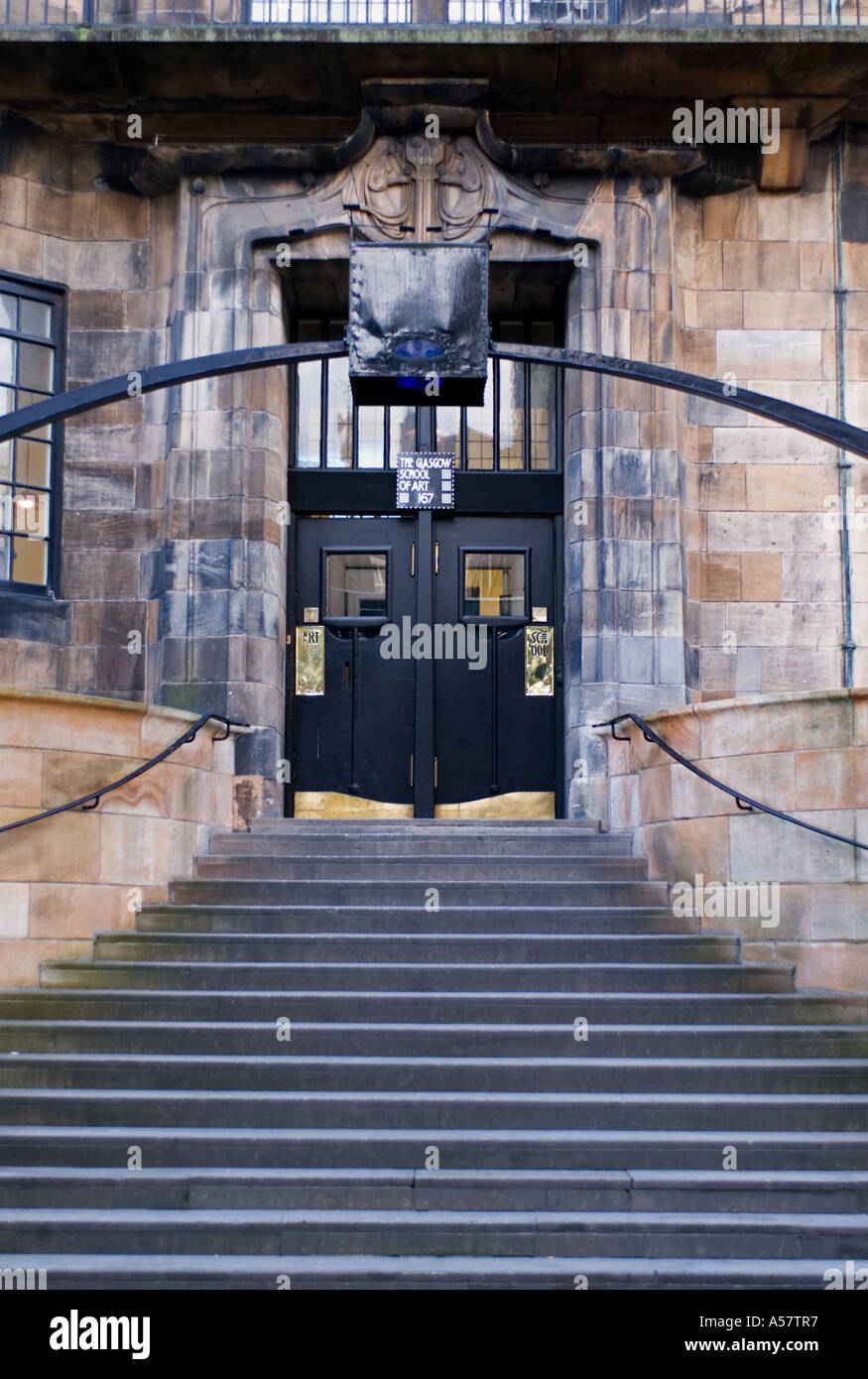 Entrance To Famous Glasgow School Of Art Designed By Charles Rennie Stock Photo Alamy