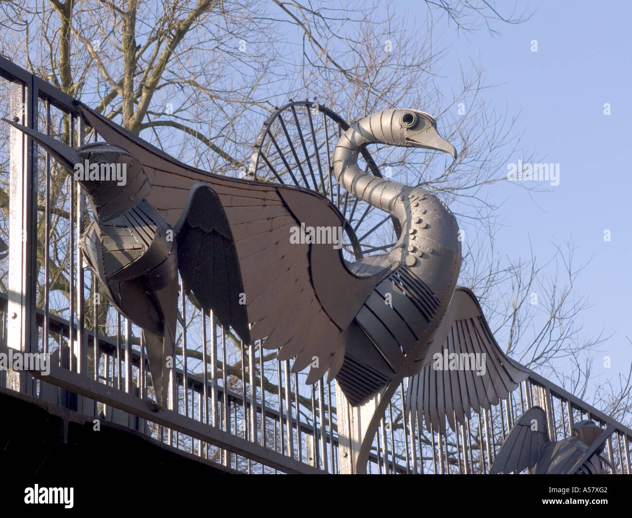 Swan metal sculpture on a bridge at Sutton Stop.Hawkesbury junction Coventry.West Midlands England - Stock Image