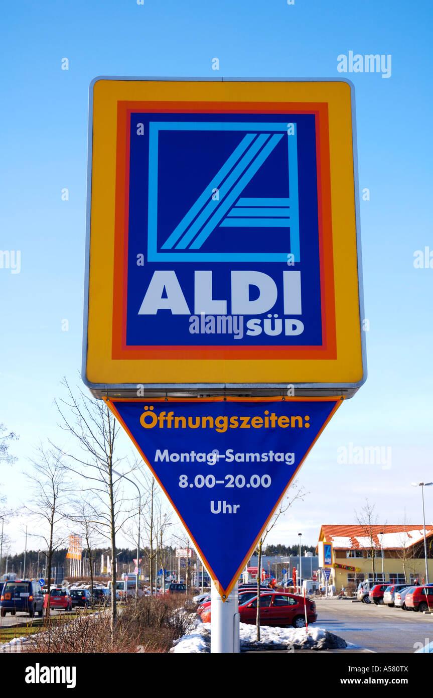 Logo of German supermarket chain Aldi Stock Photo