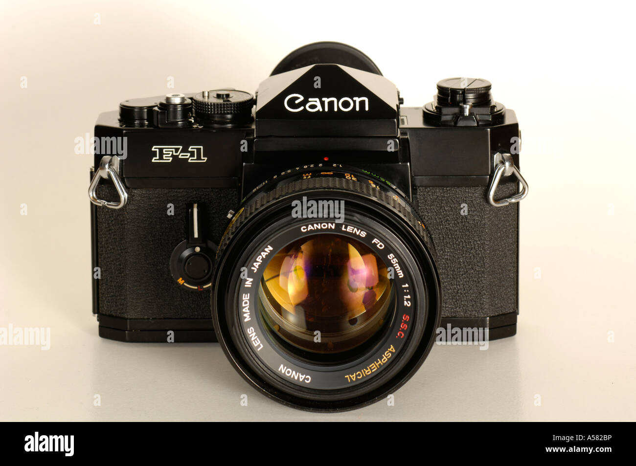 Analogue single lens reflex camera Canon F-1 of the 1970s front - Stock Image