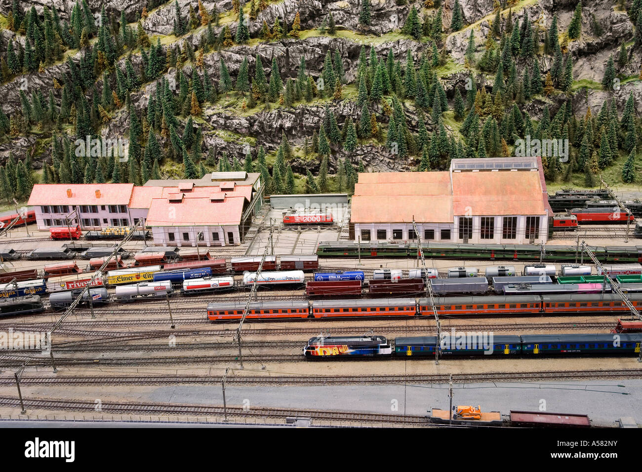 Model of the train station of Erstfeld at the Gotthard railway model, Museum of Transport, Lucerne, Switzerland - Stock Image