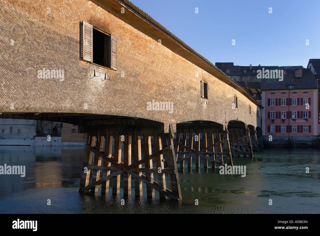 Wodden bridge on the border from Germany-Switzerland - Baden-Wuerttemberg, Germany, Europe Stock Photo