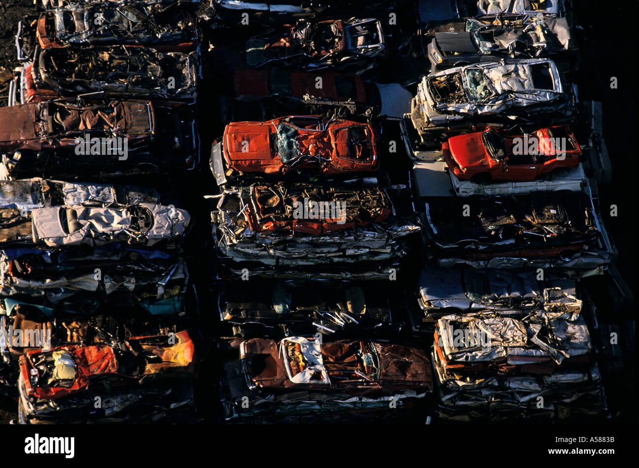 Overhead view of a scrap metal yard taken in Newark NJ - Stock Image
