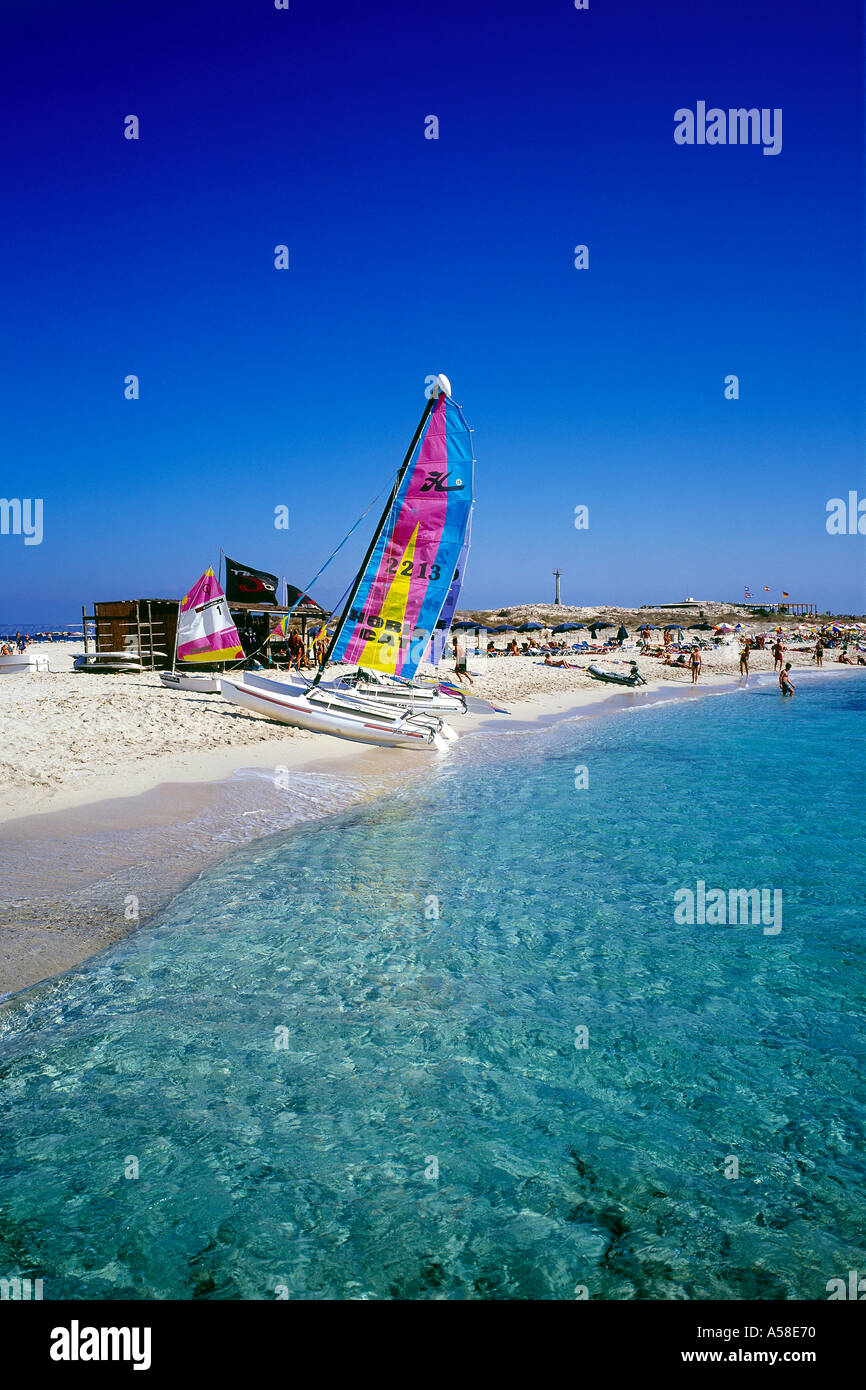 Illetes Beach, Catamarans - Stock Image