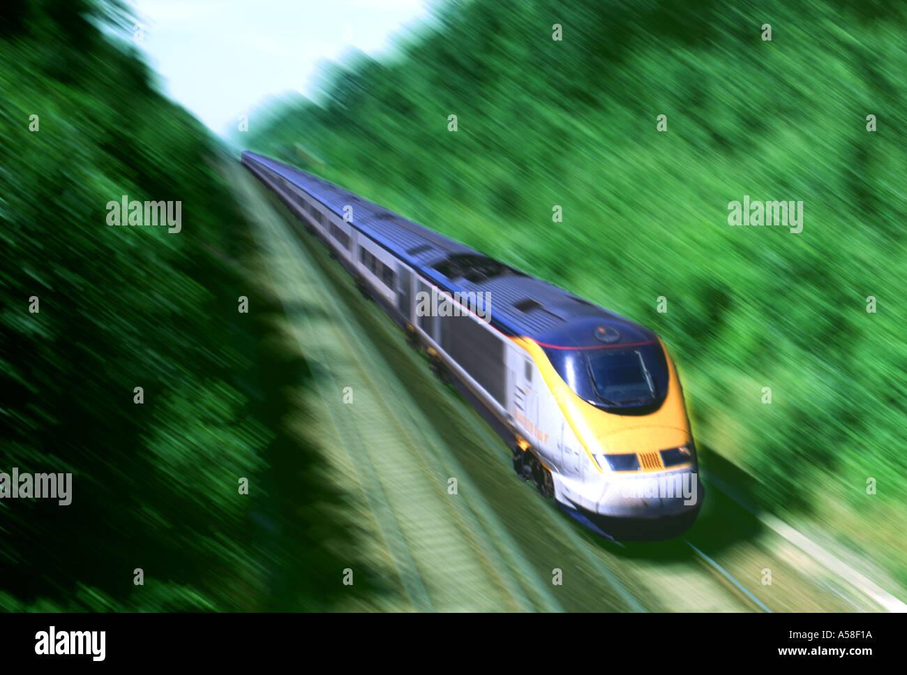 Trains, Eurostar, Moving - Stock Image
