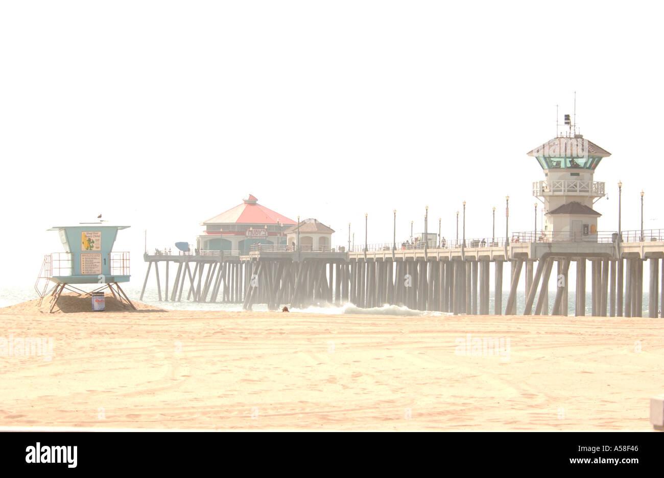 Pier, Beach and Lifeguard Hut - Stock Image