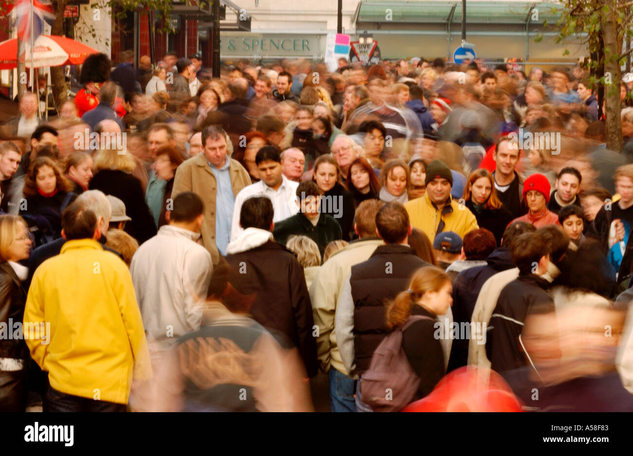 Crowd In Shopping Street - Stock Image