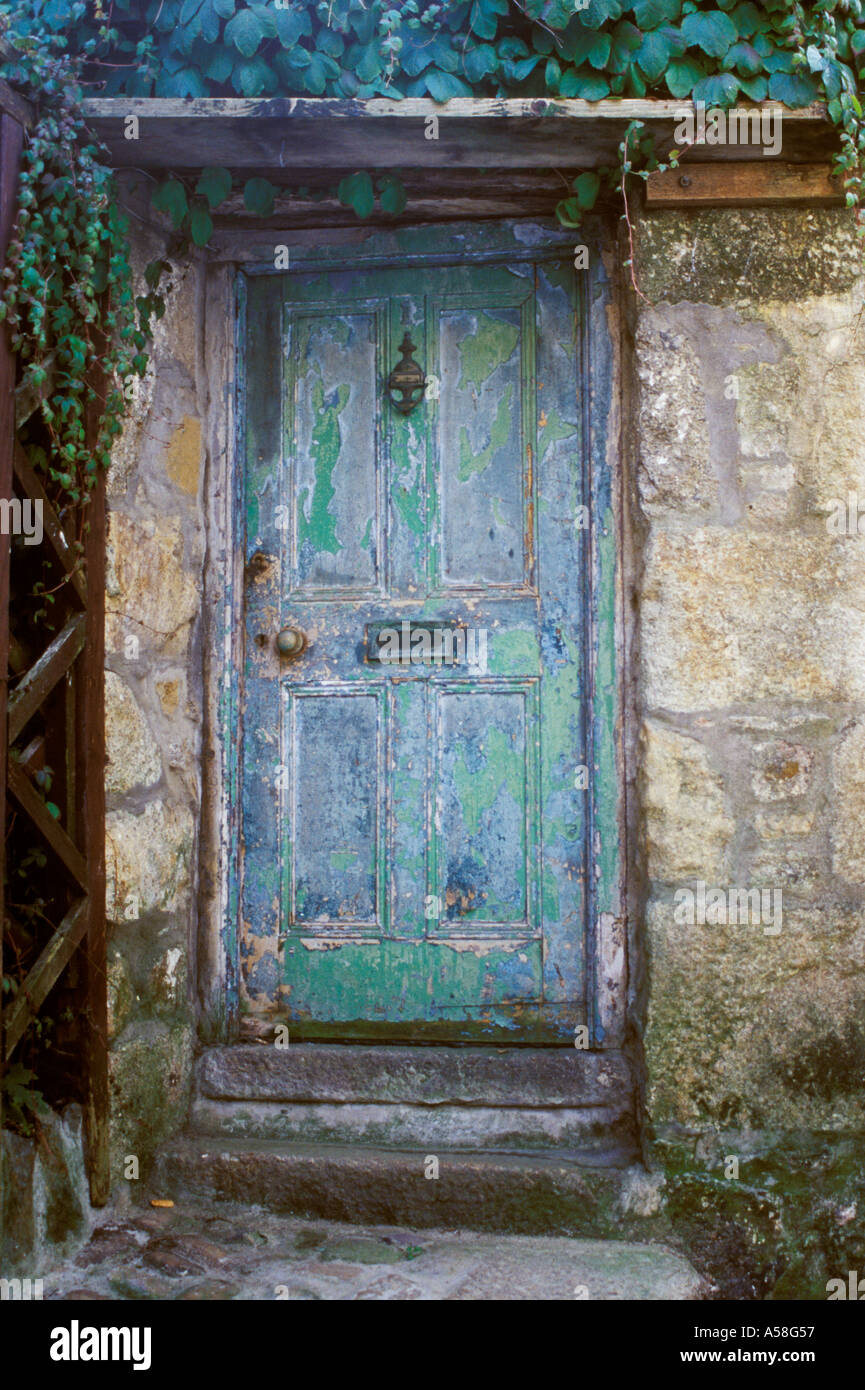 St Ives Cornwall England 18th century type panelled door very weathered green blue paint front door & St Ives Cornwall England 18th century type panelled door very Stock ...