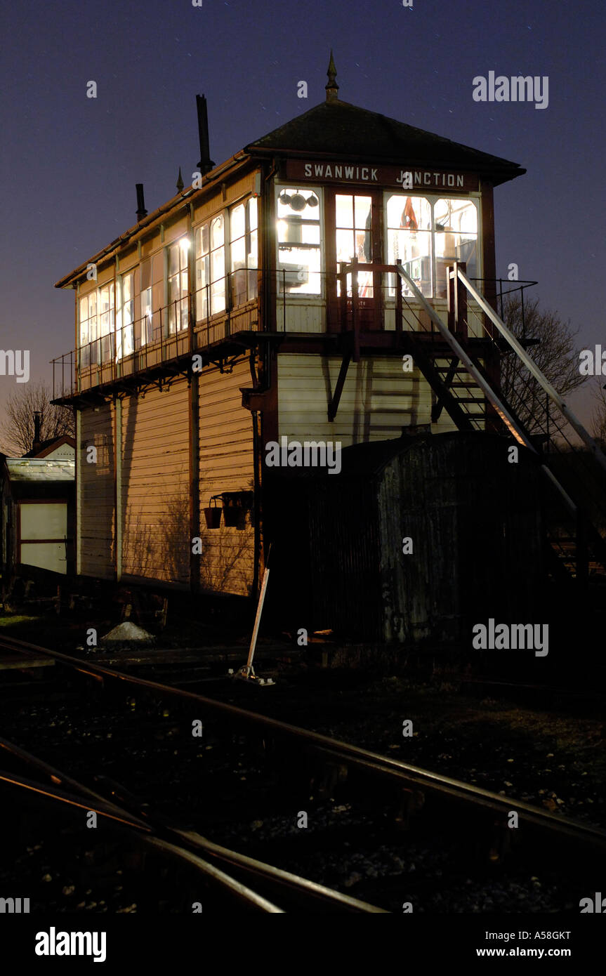 The signalbox at night at Swanwick Junction, Butterley at the Midland Railway Centre in Derbyshire, England - Stock Image