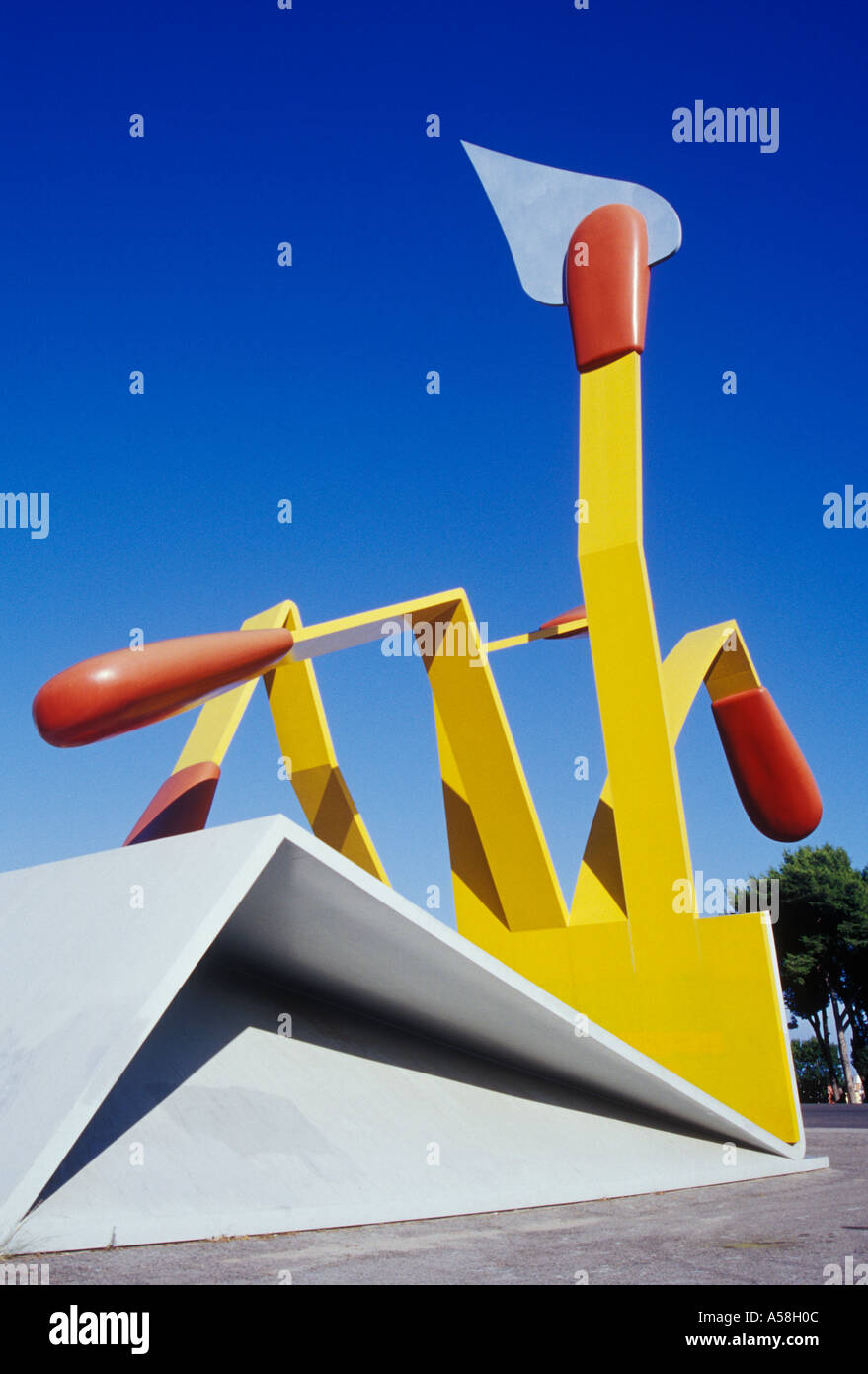 Avinguda Cardenal Vidal y Barraquer Horter Barcelona Spain detail of Claes Oldenburg's Matches 20th century sculpture - Stock Image