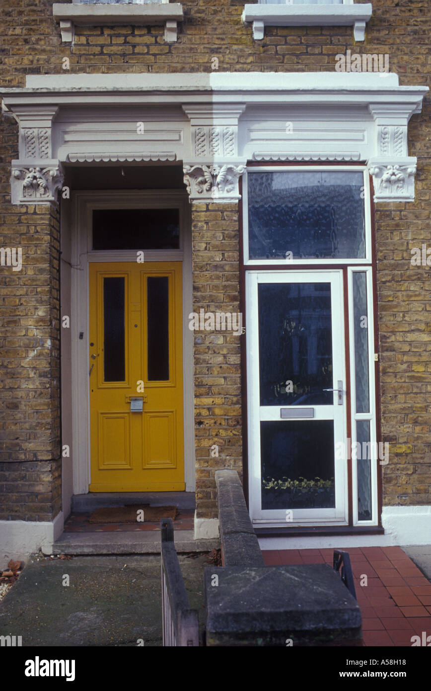 Kilburn North London England Uk Pair Of Front Doors On Victorian
