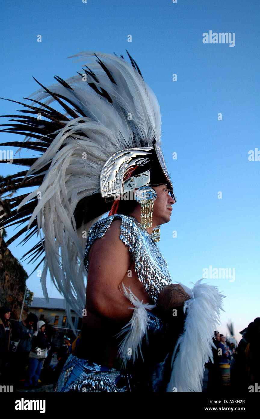 Native American Indian Chief in Feather Headdress - Stock Image