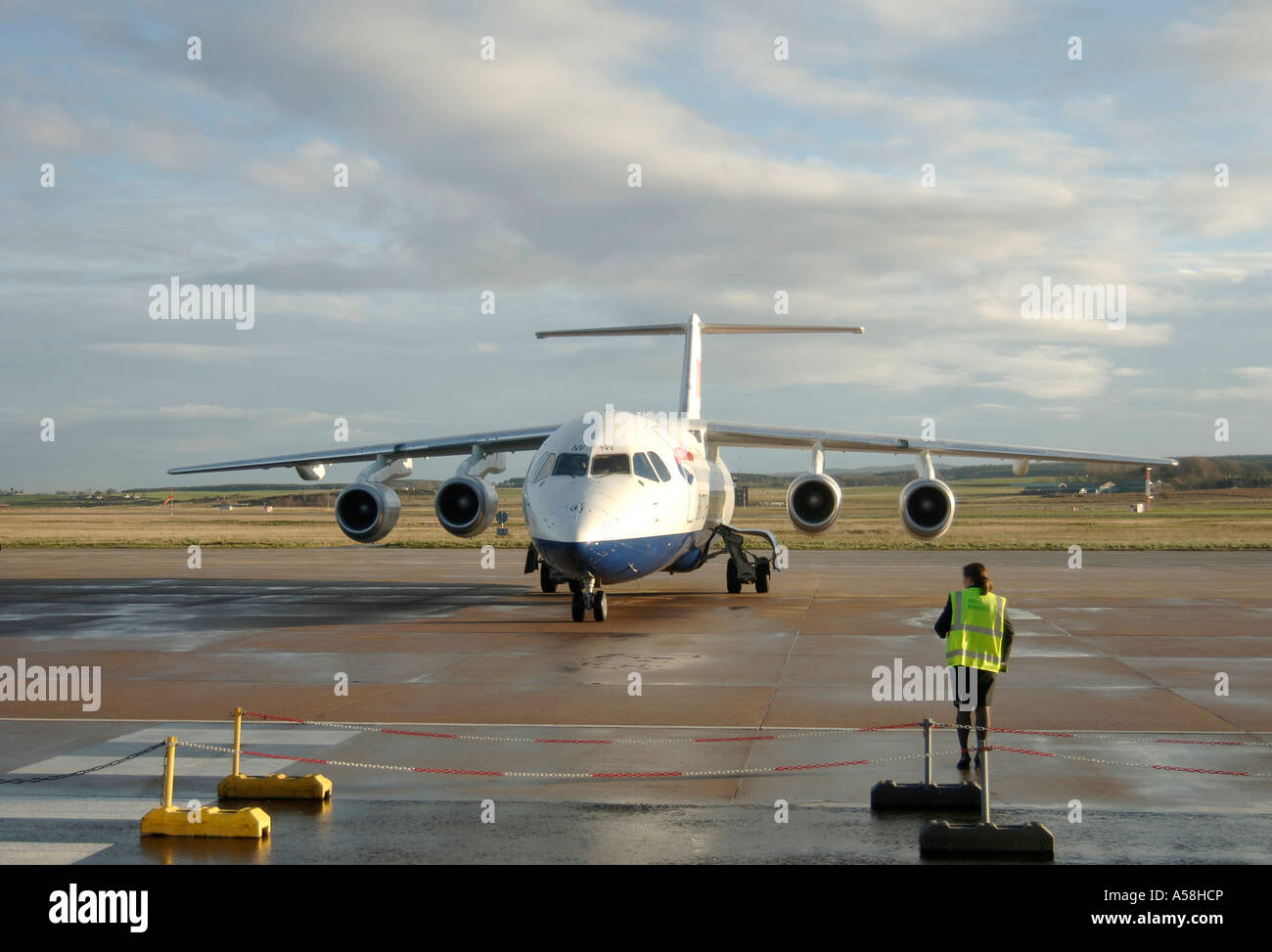 Commercial Passenger jet BAE 146-300 at Inverness Dalcross Airport.  XAV 4880-457 Stock Photo