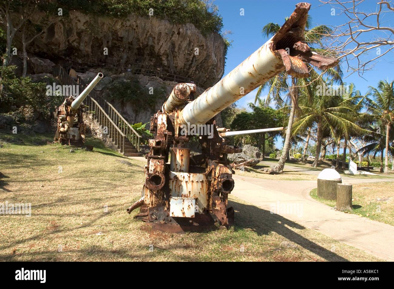 Japanese WWII guns near site of last command post , Saipan