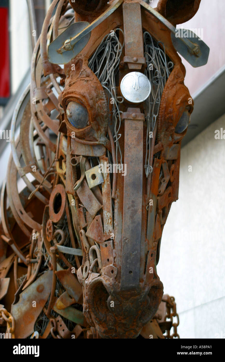 Horse Statue Made From Scrap Metal Stock Photo Alamy