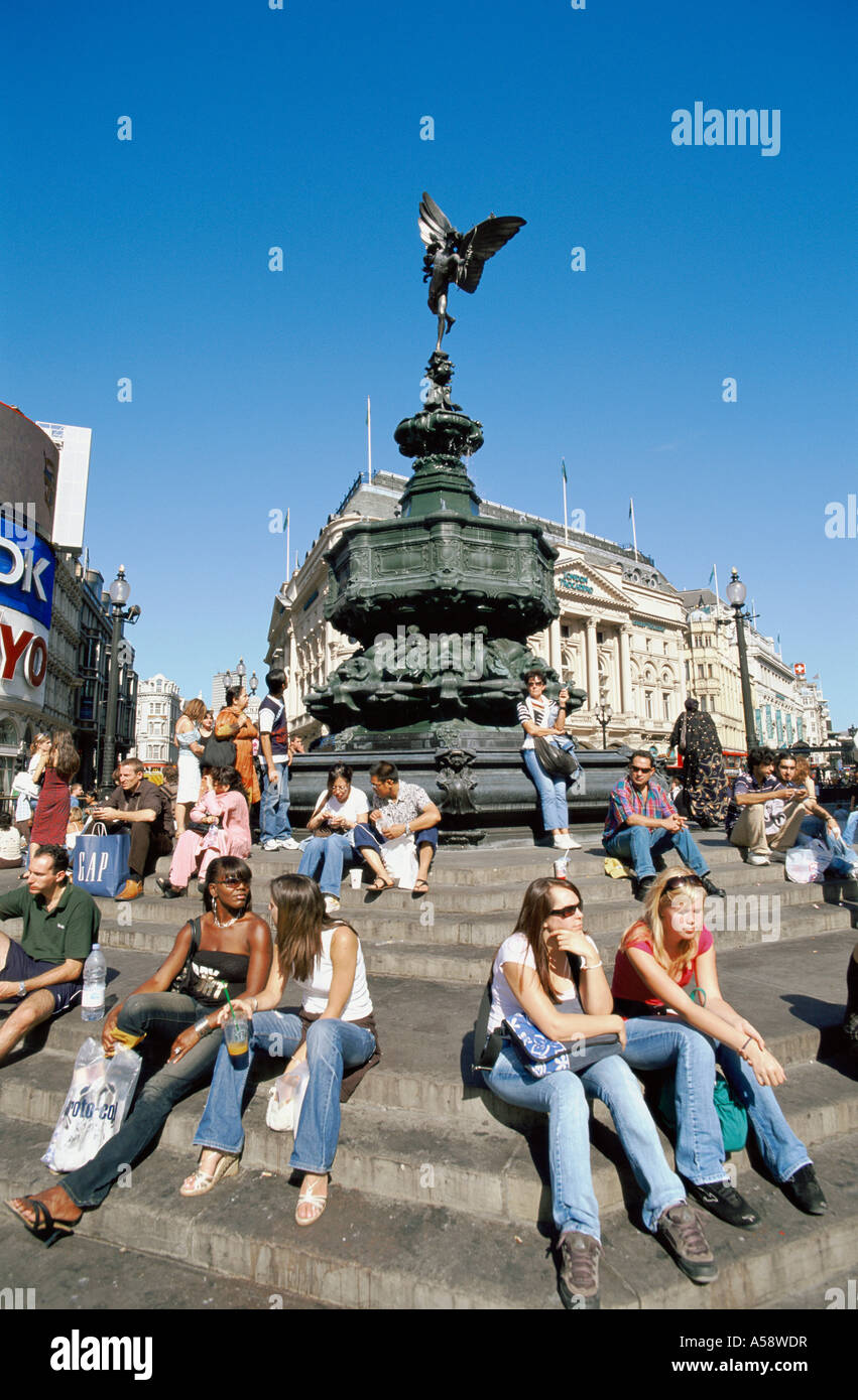 England, London, Picadilly Circus, Eros Statue Stock Photo
