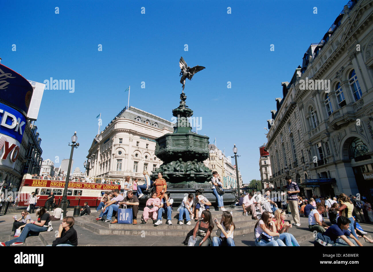 England, London, Picadilly Circus, Eros Statue - Stock Image