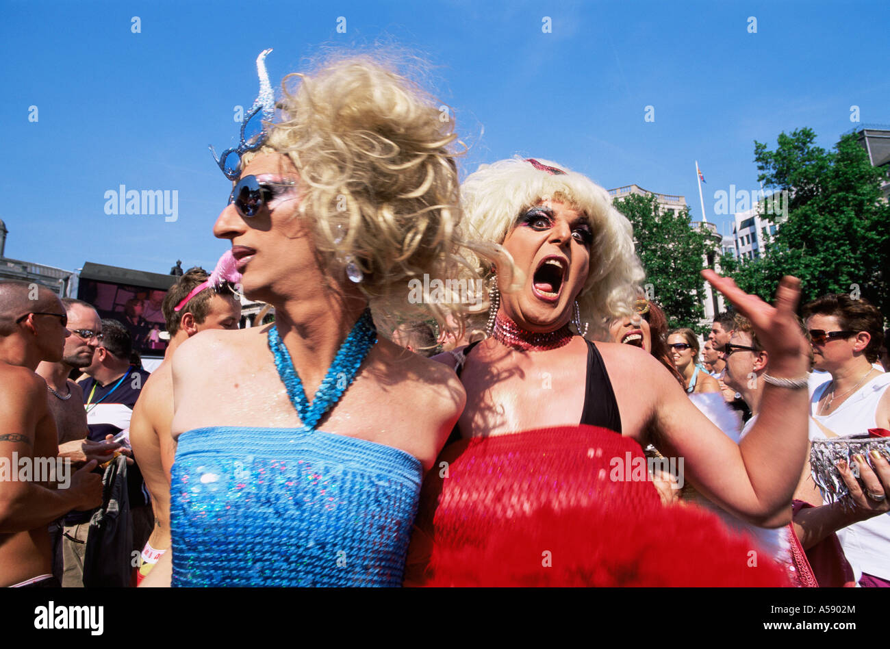 England, London, Gay Pride Festival, Drag Queens in Trafalgar Square - Stock Image