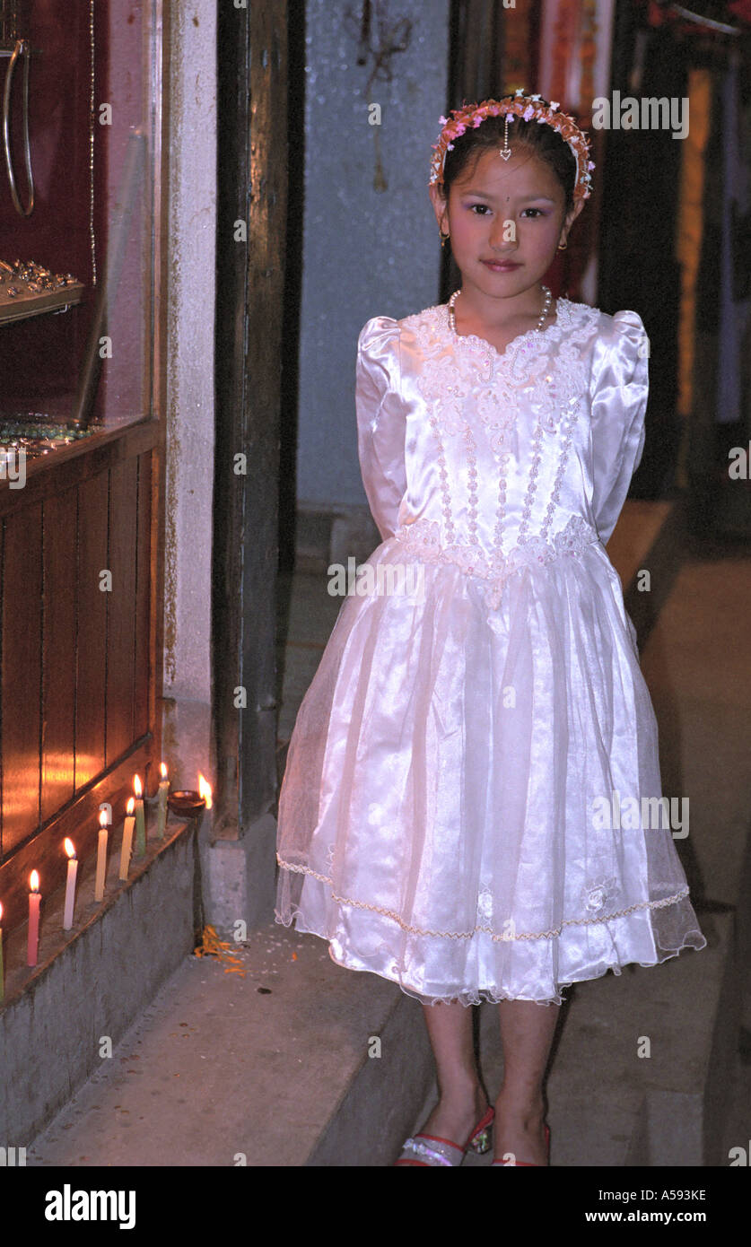 Portrait of young girl at Tihar Fistival of Lights third day Deepawali Kathmandu Nepal - Stock Image