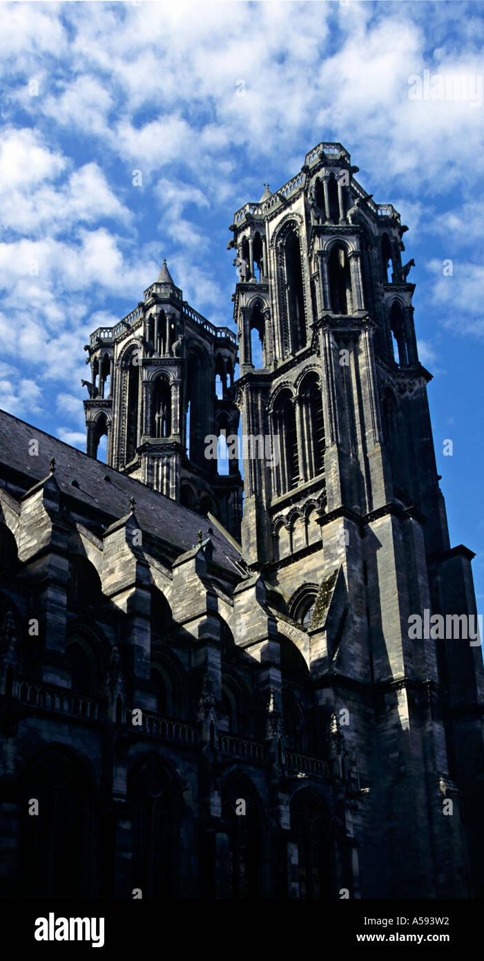 The cathedral of Notre Dame in the hill top town of Laon in Picardy one of the finest examples of Gothic architecture Stock Photo