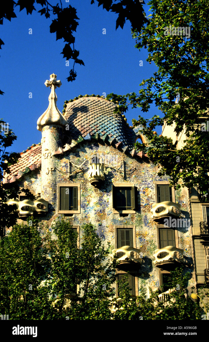 Casa Batllo Antoni Gaudi Barcelona Art Nouveau - Stock Image