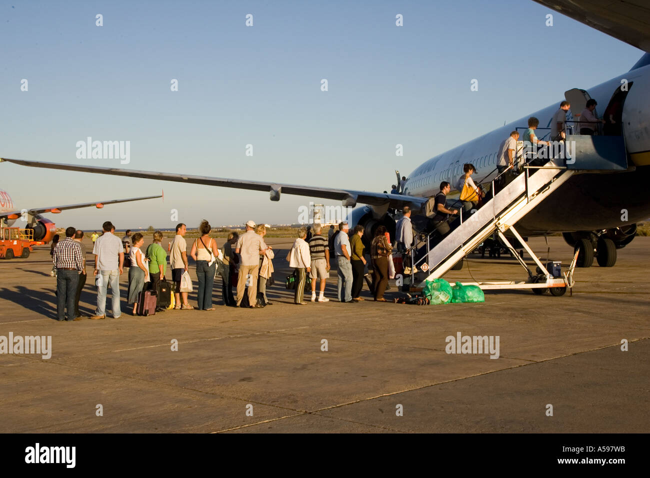 Passengers boarding on ryanair flight Murcia airport Spain - Stock Image