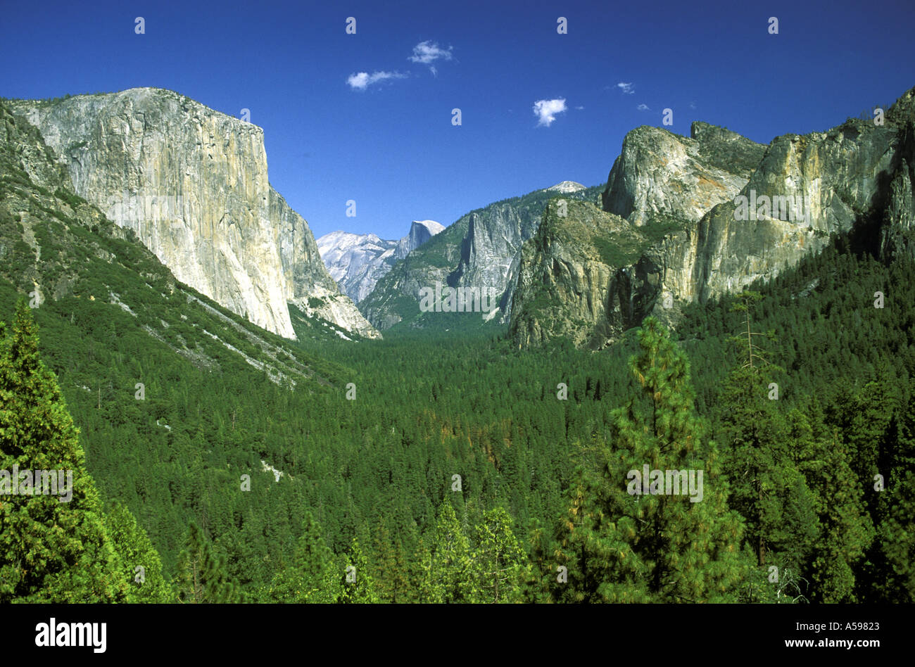 VIEW OF THE MERCED VALLEY WITH HALF DOME IN THE DISTANCE FROM TUNNEL VIEW YOSEMITE NATIONAL PARK CALIFORNIA USA - Stock Image