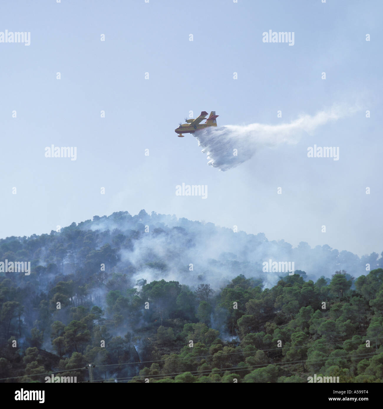 Canadair amphibious forest firefighting aircraft in operation at Paguera, Mallorca, Balearic Islands, Spain. - Stock Image