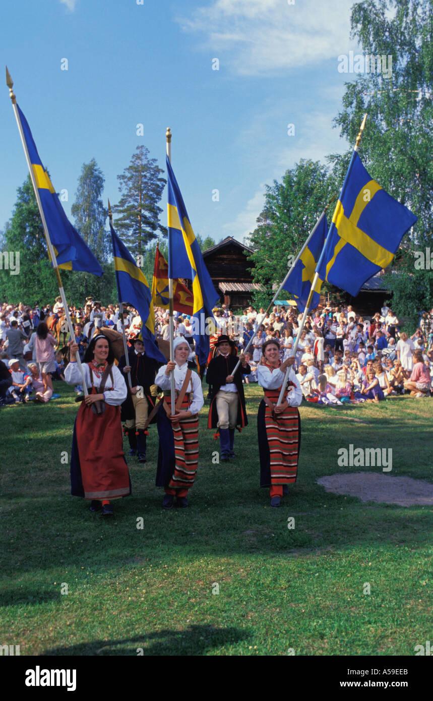 Midsummer celebrations at Rattvik in Dalarna Sweden - Stock Image