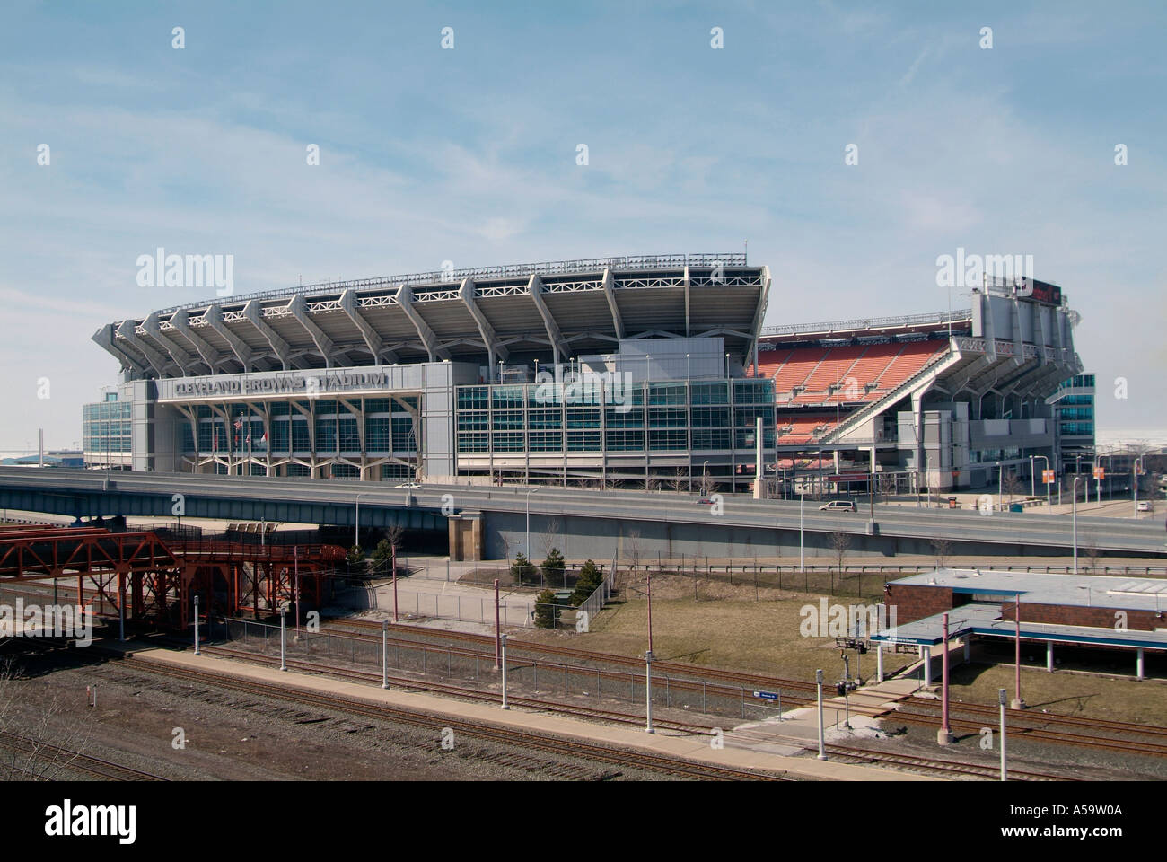 Downtown Cleveland Ohio sightseeing landmarks and tourist attractions  Cleveland Browns Football Stadium - Stock Image