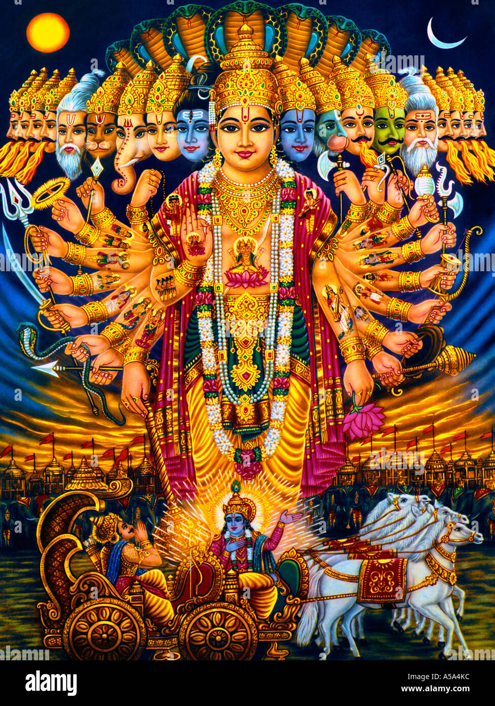 Hindu Gods Krishna Arjuna and Chariot Vishnu and Other Indian Gods Vishvarupa - Stock Image
