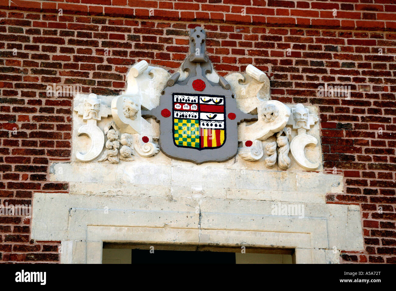 The town Coat of Arms on Shire Hall on Market Hill in Woodbridge Suffolk UK - Stock Image