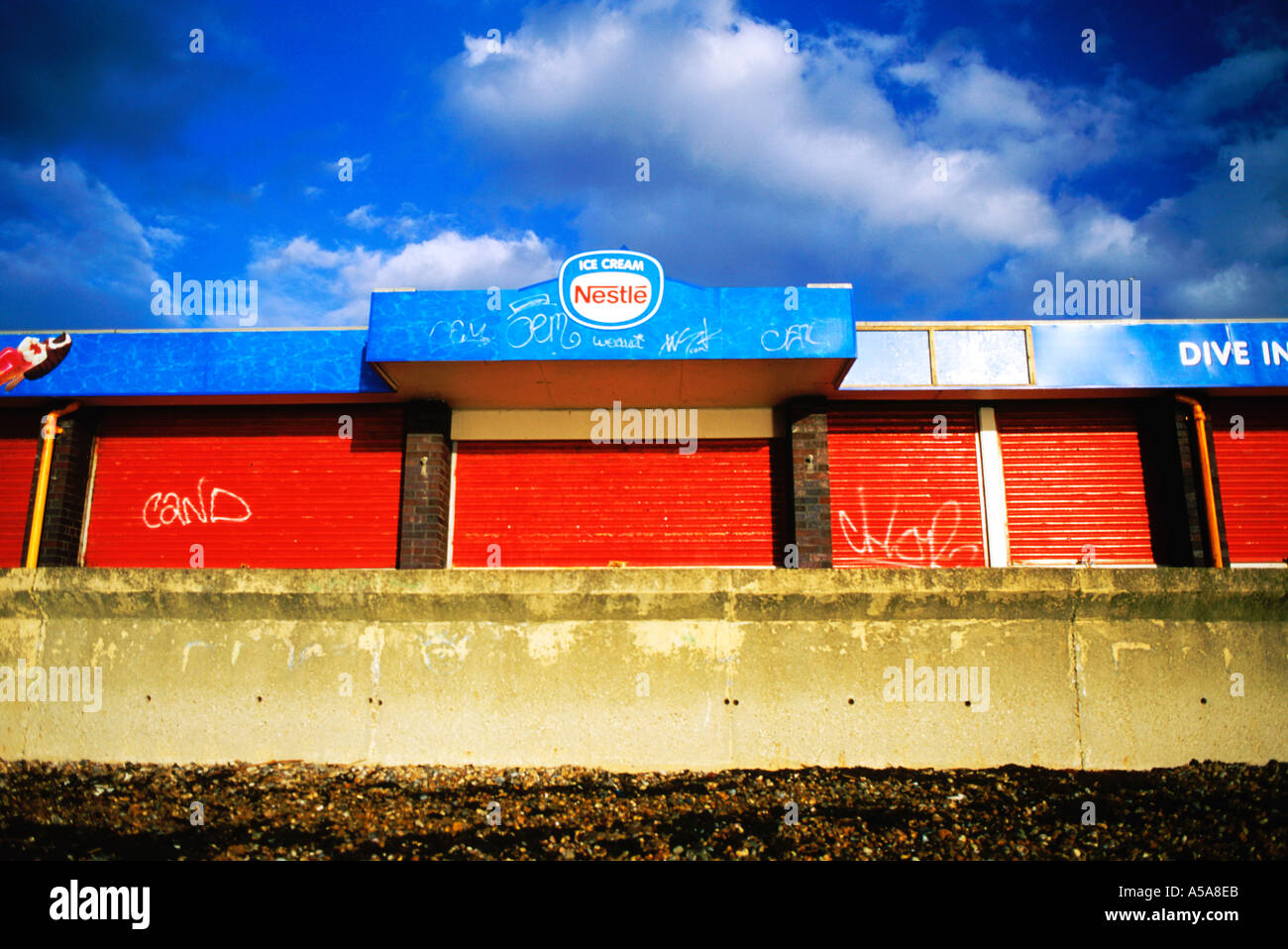 Closed for Winter Cafe in Southsea England Stock Photo
