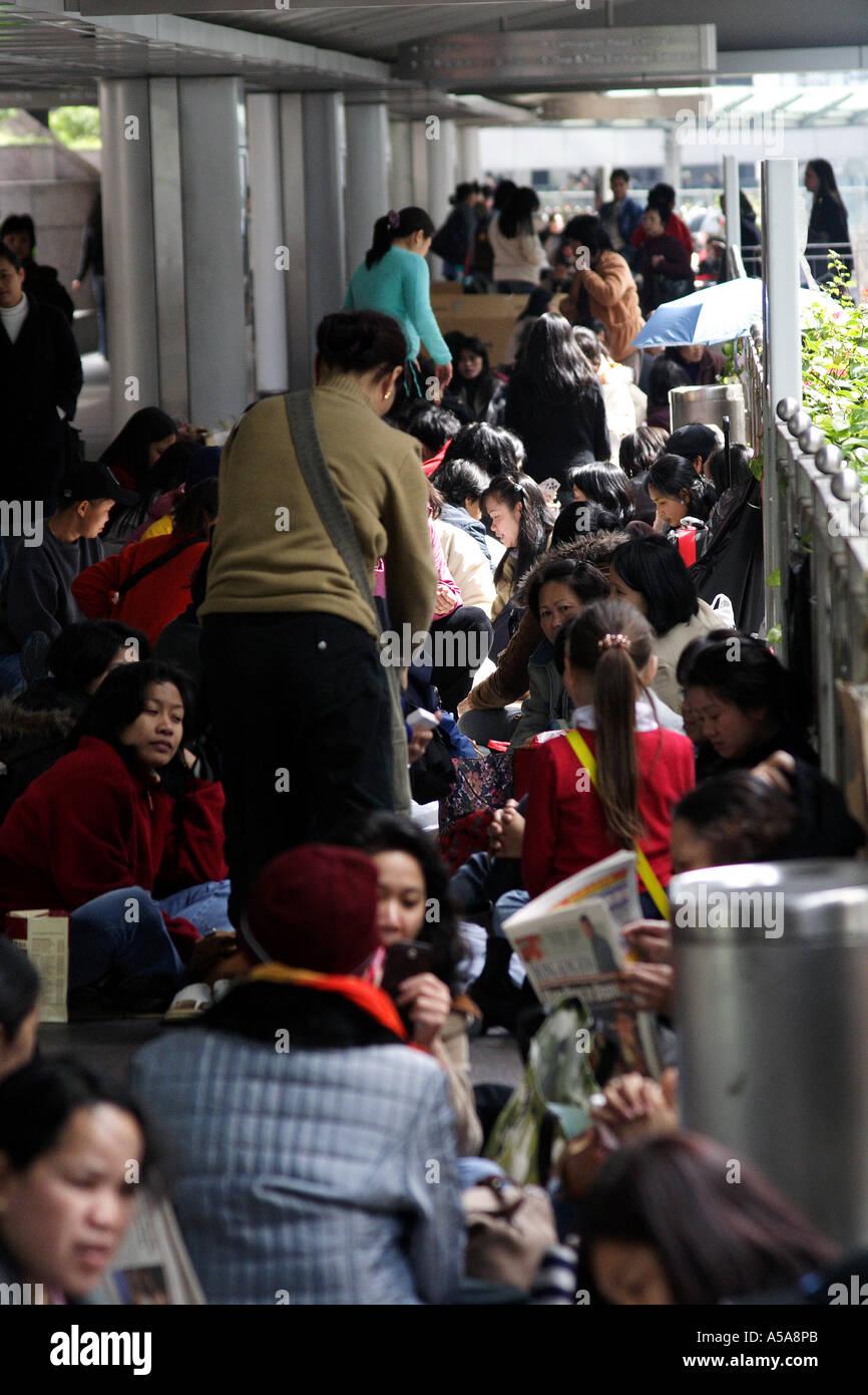 Filipina Amahs enjoying their day off, Hong Kong SAR - Stock Image