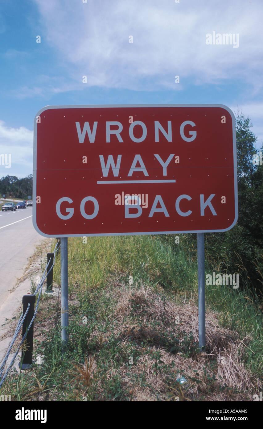 Wrong way , Go back sign , NSW , Australia - Stock Image