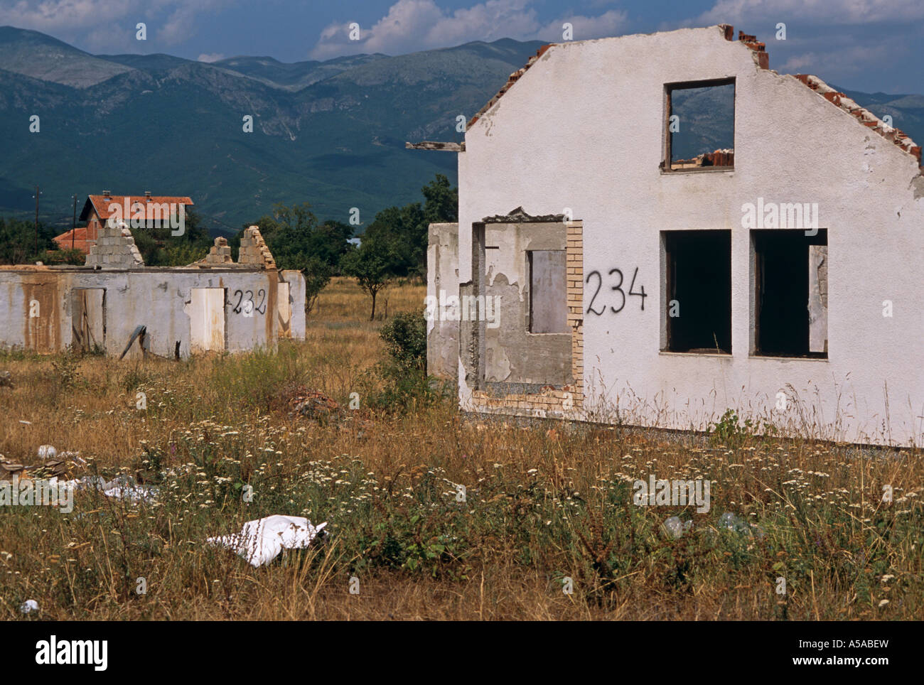 A destroyed Serbian village in Kosovo Stock Photo