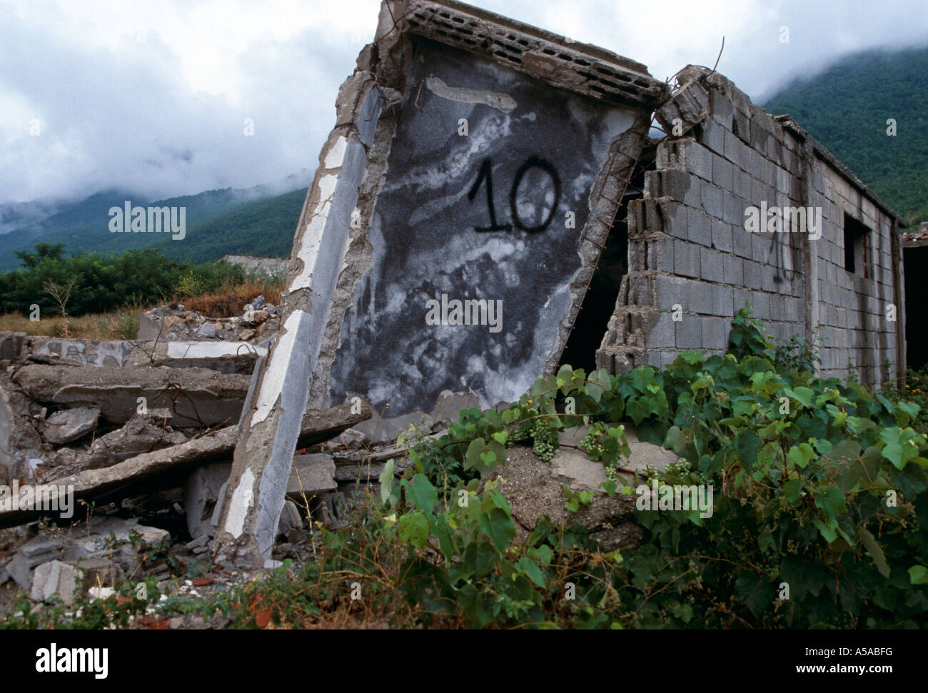 A destroyed Serbian village in Kosovo Stock Photo