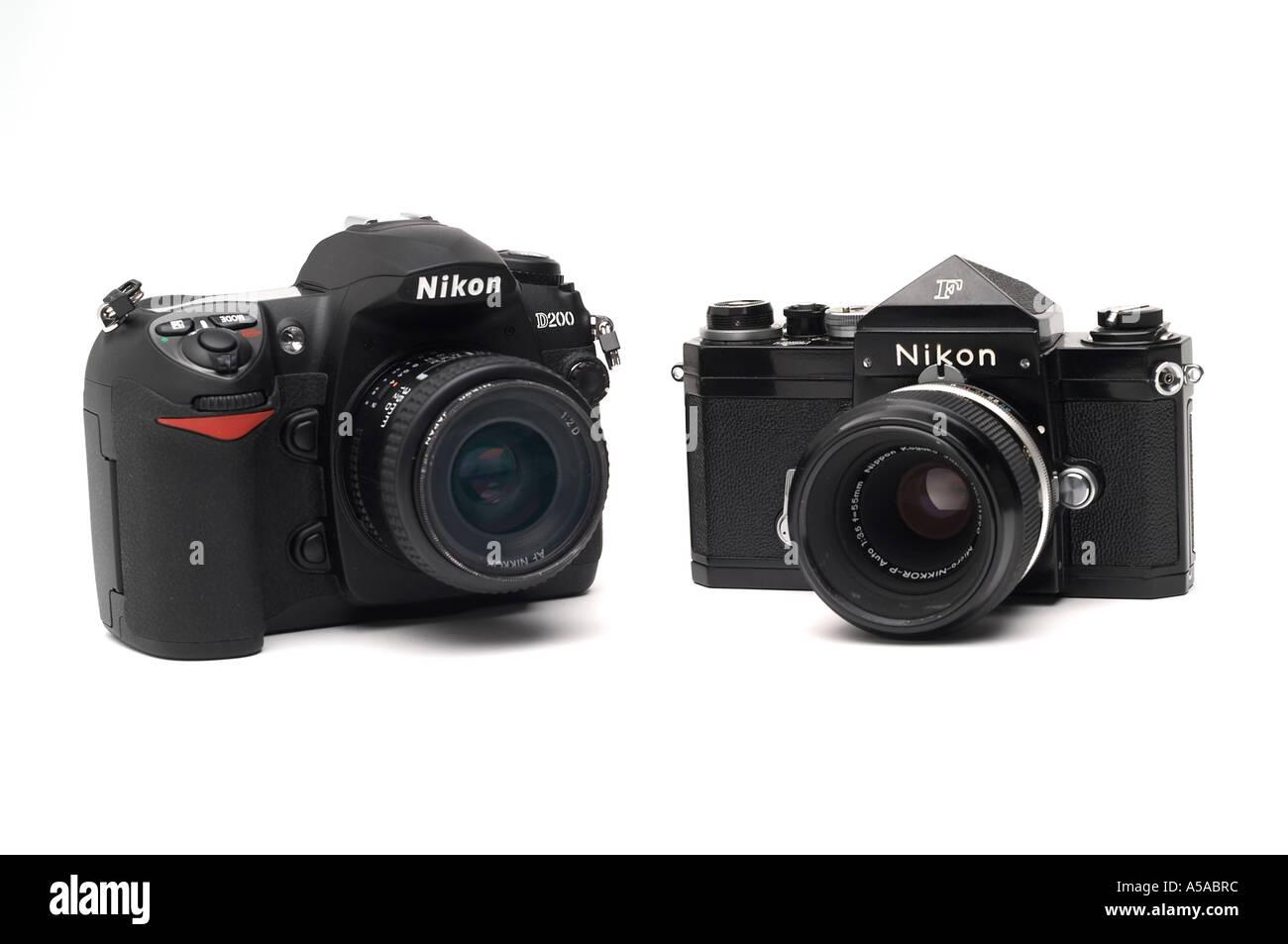 Nikon D200 digital SLR camera Nikon F 35 mm film camera - Stock Image