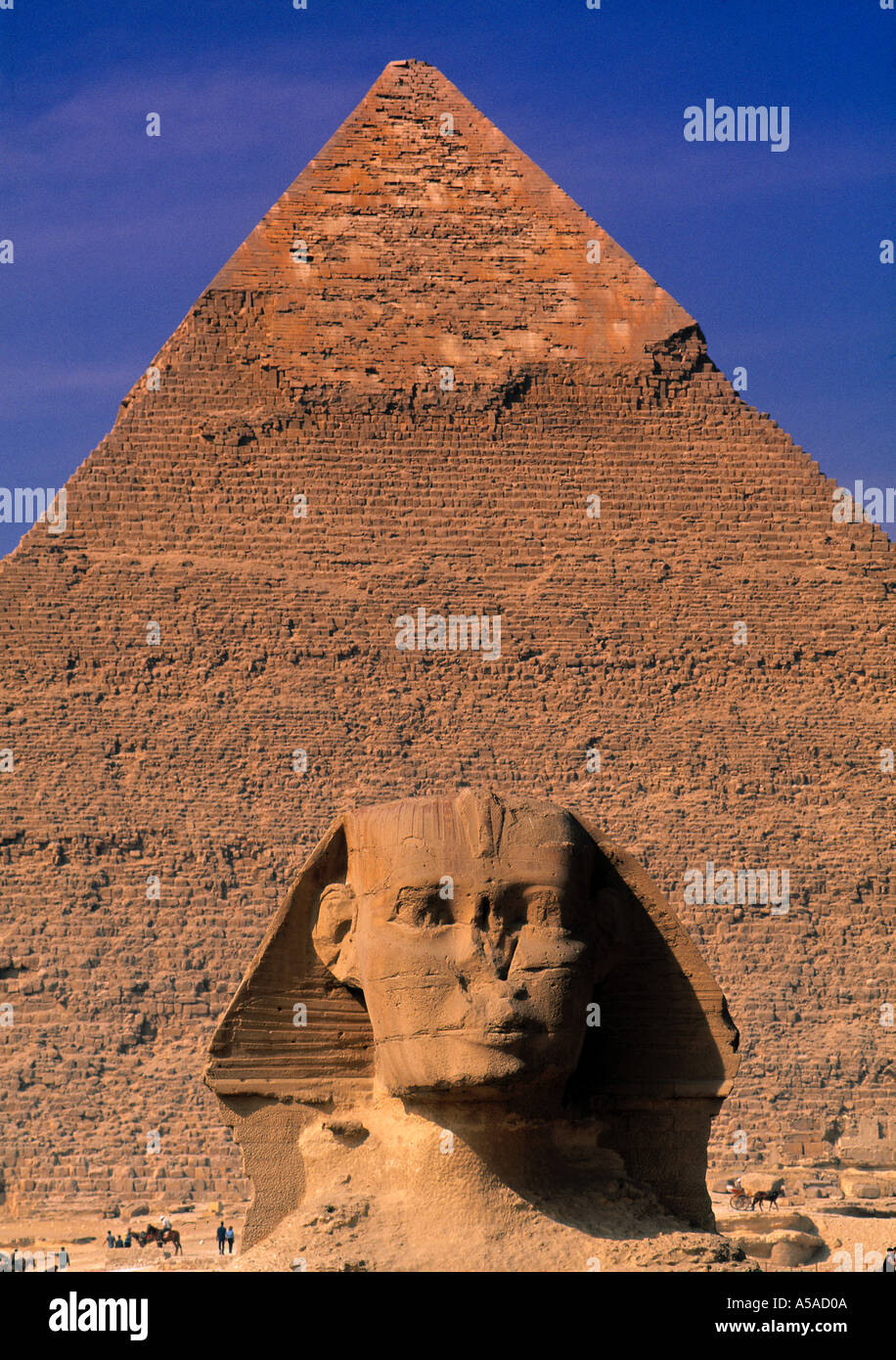 Pyramid and Sphinx, Giza, Cairo, Egypt - Stock Image