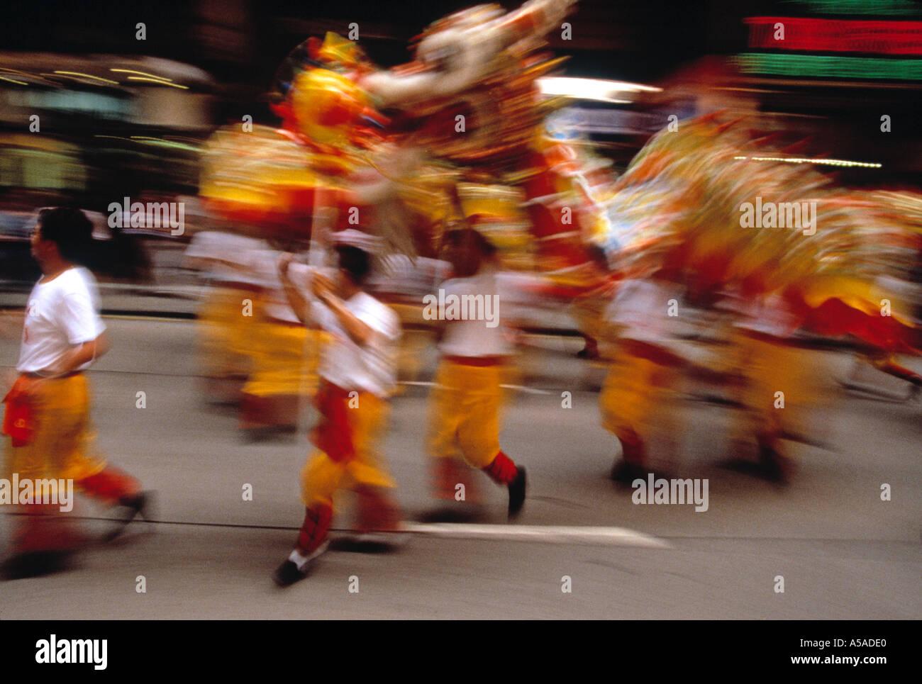 Dragon Dancers, Kowloon, Hong Kong, China - Stock Image