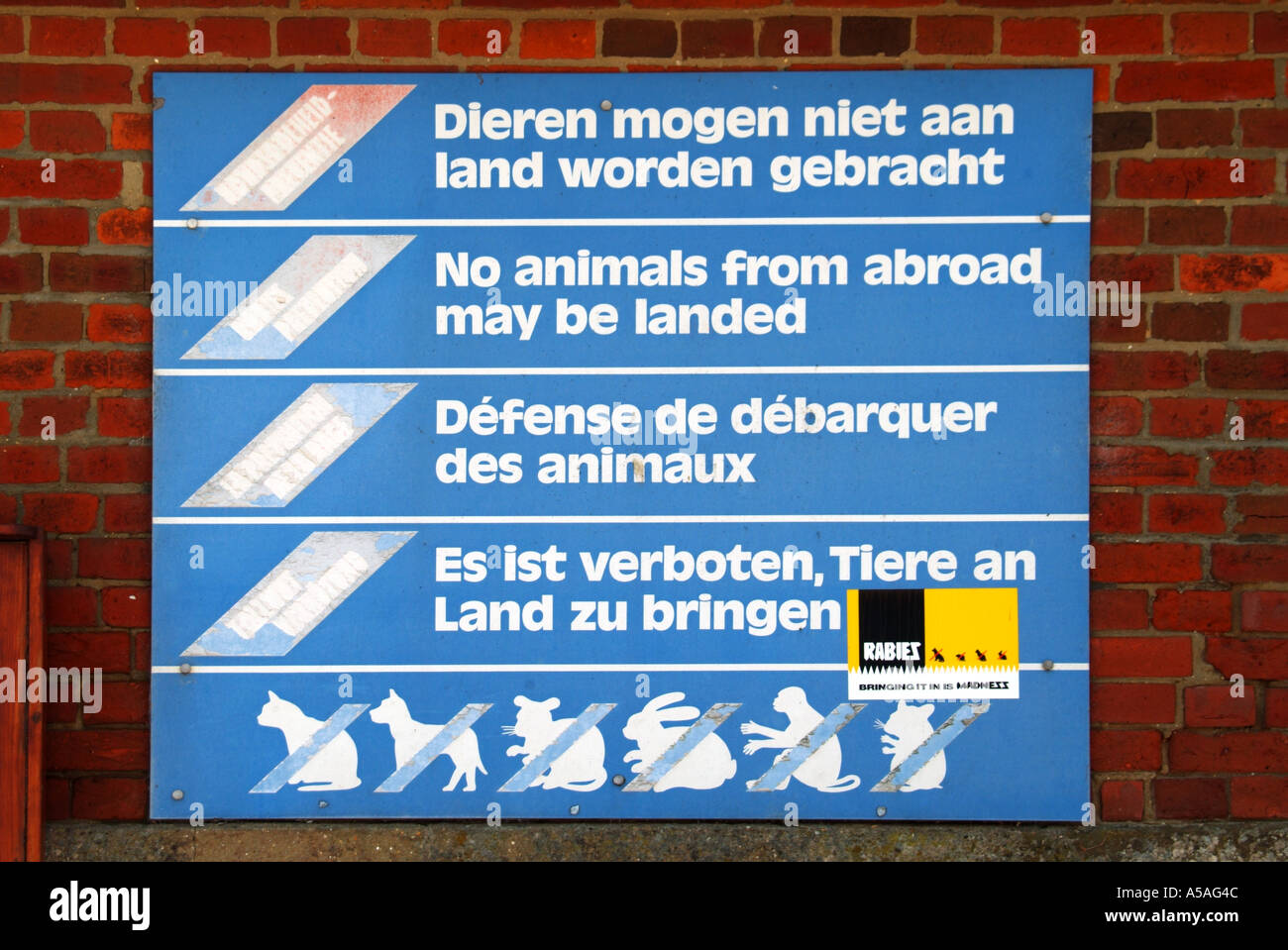 Rabies regulations on sign close to small rural jetty - Stock Image